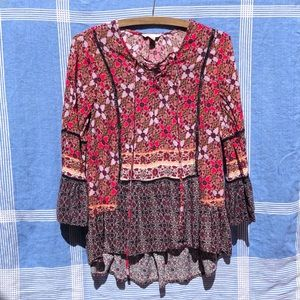 Bell Sleeve Floral Ruffle Peasant Blouse XS